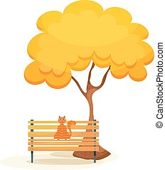 The cat on the bench. Ginger tabby cat on a wooden bench under autumn tree on a white