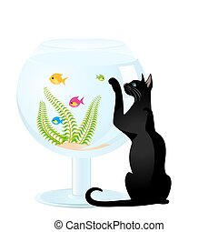 The cat plays with a small fish