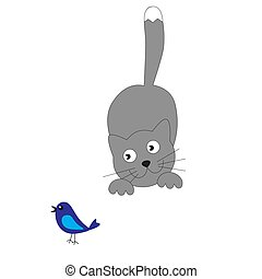 The cat wants to catch a fish. cartoon, vector ...