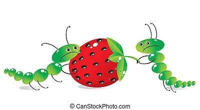 The caterpillar-mum treats with an apple the little child-caterpillar