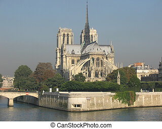 The cathedral of Notre Dame viewed from the seine