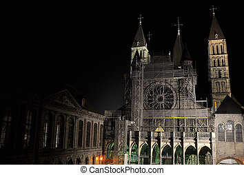 The cathedral of Our Lady in Tournai, the second oldest city...