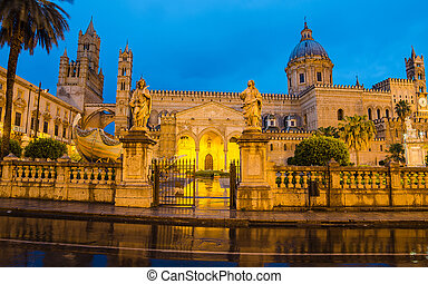 The cathedral of Palermo, Sicily, Italy after rain. Early ...