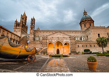 The cathedral of Palermo, Sicily, Italy. Early morning
