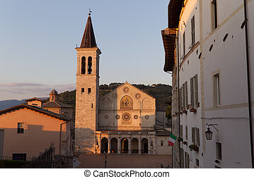The Cathedral of Spoleto at sunset