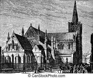The Cathedral of St. Patrick, vintage engraving.