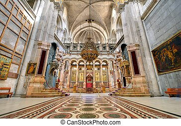 The Catholicon is the church at the center of the Church of the Holy Sepulchre in Jerusalem, Israel.