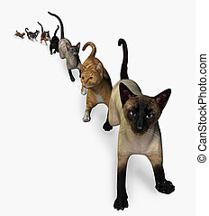 The Cats are Coming! 3D render