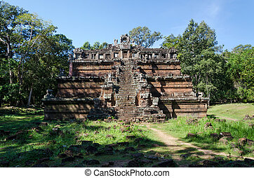 The celestial temple Phimeanakas is part of the royal palace Angkor Thom in Cambodia