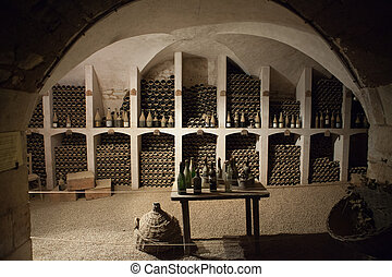 The cellar to the storage of wine in the castle Valencay....