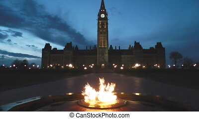 Canadian Parliament - The Centennial Eternal Flame In Front...