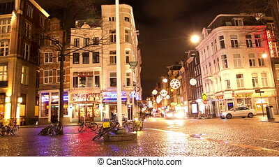 The Center of Amsterdam at night.