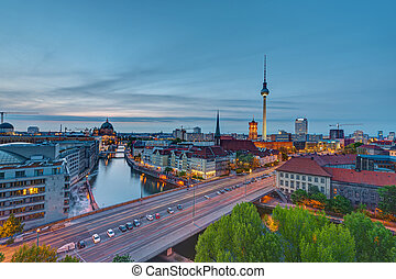 The center of Berlin at dusk