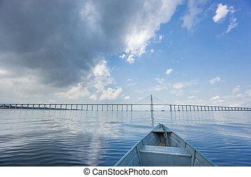 The center of Manaus Iranduba Bridge, also called Ponte Rio...