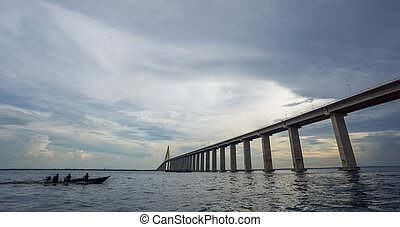 The center of Manaus Iranduba Bridge and boat - Ponte Rio...