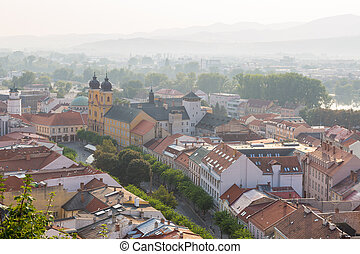 The center of Trencin from above