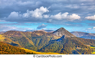 Beautiful image of the Central Massif, located in the south-central France. Here is the the largest concentration of extinct volcanoes in the world with approximately 450 volcanoes.