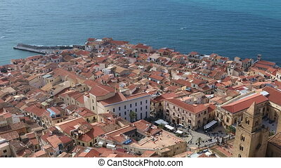 The central part of the Cefalu city. Sicily region, Italy -...