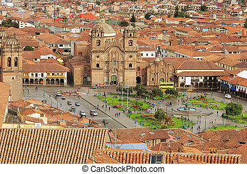 The central square in Cuzco. - The central square in Cuzco,...