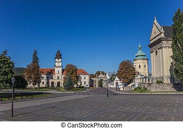 The central Vicheva square in Zhovkva, Ukraine