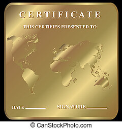 The certificate in unique style on a gold background