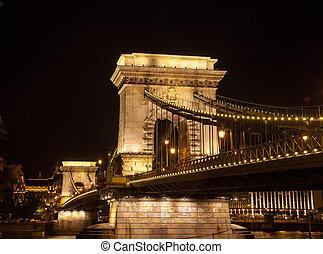 The Chain Bridge in Budapest, Hungary at night