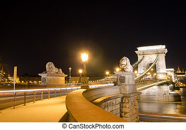 The Chain Bridge in Budapest in the evening. Sightseeing in Hungary