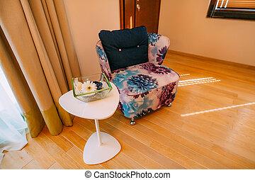 The chair in apartment. Design interior of apartment.