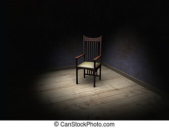 The chair - Rendering showing an empty dark and frightening...