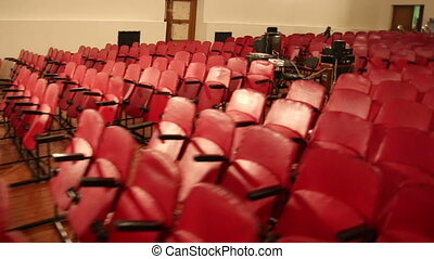 The chairs in the auditorium