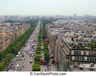 The Champs Elysee and the Louvre in the distance, seen from the roof of the Arc de Triomphe.
