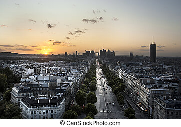 The Champs Elysees and La Defense at Sunset