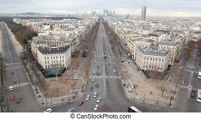 The Champs Elysees and La Defense Paris, France