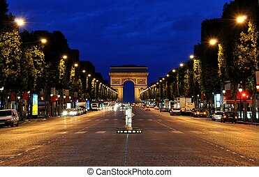 The Champs-Elys?es and the Arc de Triomphe in Parisduring the night