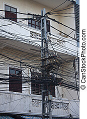 The chaos of cables and wires in Vientianne, Laos.