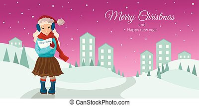 The character a bolndinka the girl costs with a card in hands. In winter warm clothes and boots on the street.