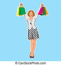 The character is a beautiful girl in a plaid dress with shopping bags. Vector illustration Eps