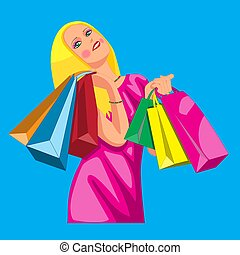 The character is a beautiful girl with bags from the store. Vector illustration eps