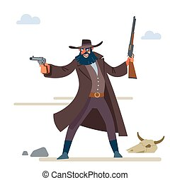 The character is a cruel bandit with a dark beard in a long raincoat, with a revolver and a rifle. Cartoon vector illustration. Flat style. Isolated on white background