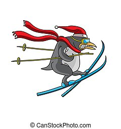 The character is an animal penguin skiing on a white isolated background. Drawn by ruaka. Vector image.