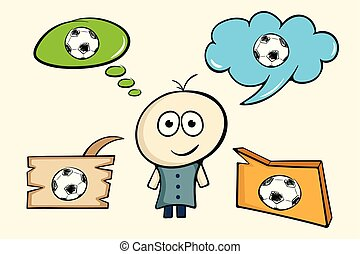 The character thinks of soccer