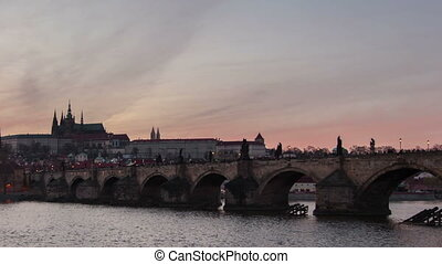 The Charles bridge and a time lapse shooting in day-to-night perspective