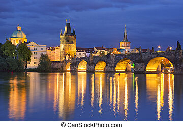 The Charles Bridge in Prague, Czech Republic at night