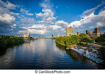 The Charles River at Boston University, in Boston, Massachusetts.