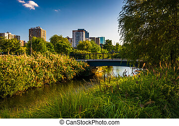 The Charles River at North Point Park in Boston, Massachusetts.