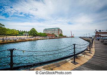 The Charles River waterfront in Charlestown, Boston, Massachusetts.