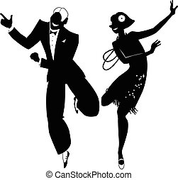 The Charleston silhouette - Black vector silhouette of a...