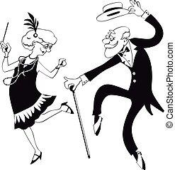 The Charleston - Vector line art of a cartoon elderly couple...