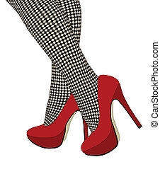 The checkered fishnet stockings - A woman wearing a pair of shoes in chess