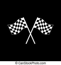 The checkered flag icon. Finish symbol. Flat Vector...